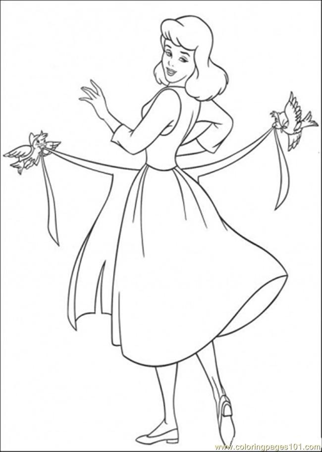 Birds Help Cinderella To Use Her Apron Coloring Page
