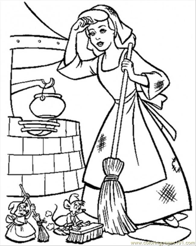 Cinderella Must Keep Her House Clean Coloring Page - Free ...