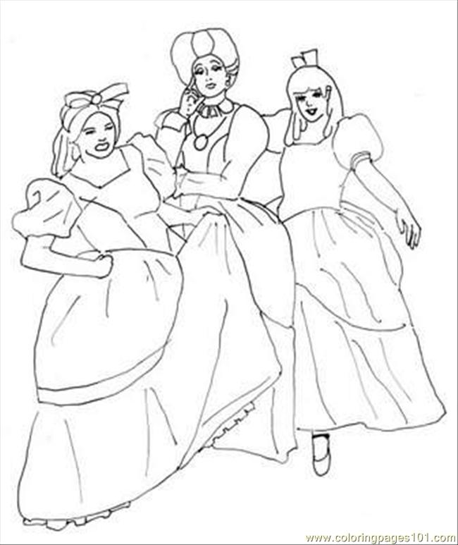 Cinderella Step Sisters Coloring Page