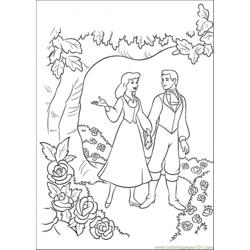 Cinderella And Prince Are Walking Together In The Garden Free Coloring Page for Kids