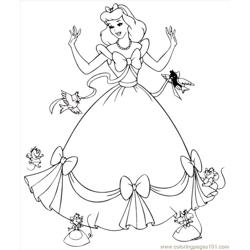 Inderella Dress Mice Coloring Free Coloring Page for Kids