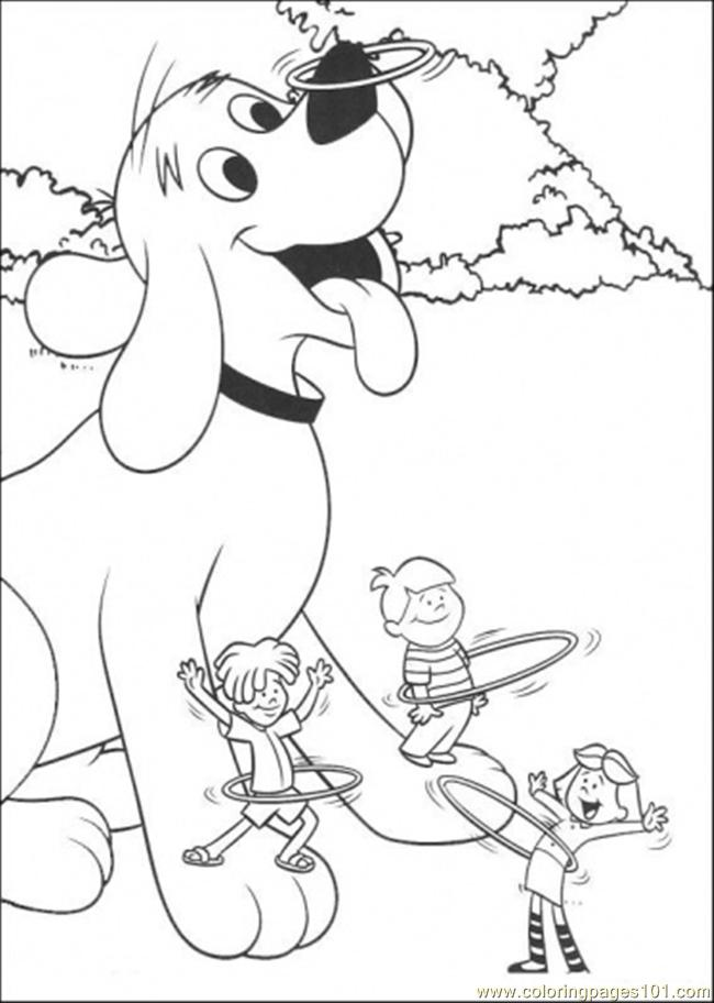 Clifford And Friends Are Playing Hullahoop Coloring Page ...