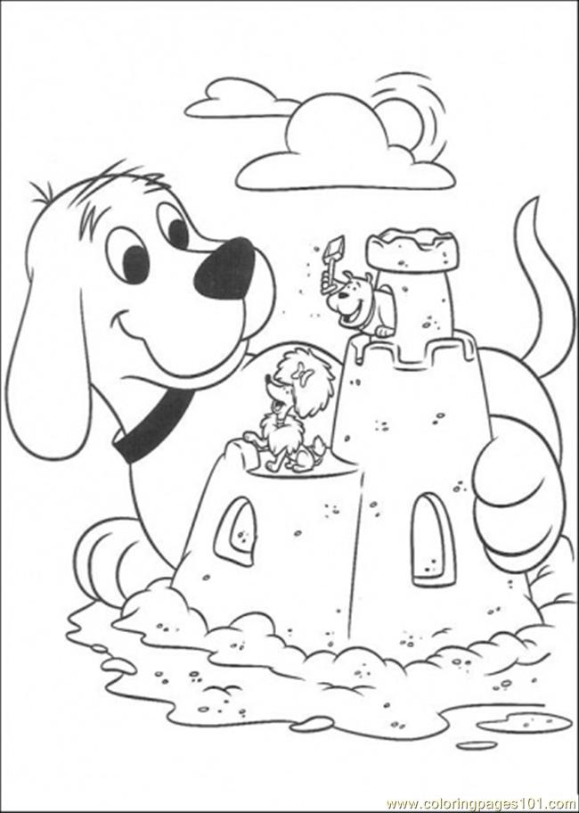Clifford Plays Sand Coloring Page - Free Clifford the Big Red Dog ...