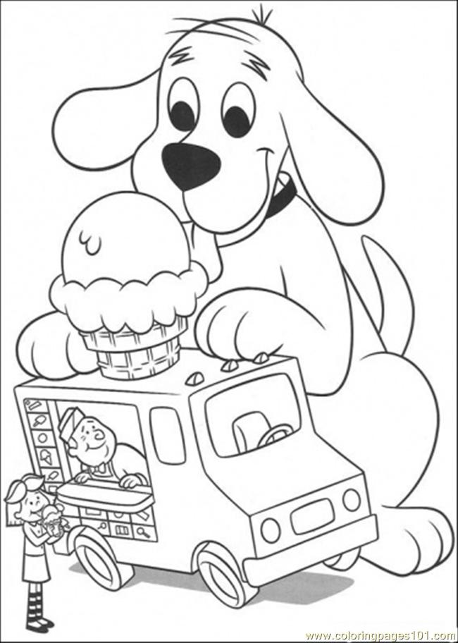 Clifford Want Some Ice Cream Coloring Page