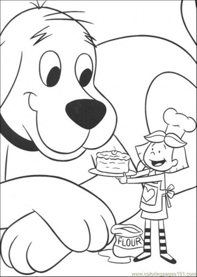 Emily Gives A Cake Coloring Page - Free Clifford the Big Red Dog ...