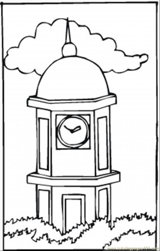 Big Clock Tower Coloring Page Free Clocks Coloring Pages