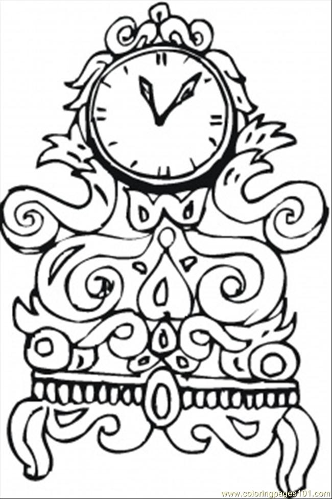 Nice Old Clock Coloring Page