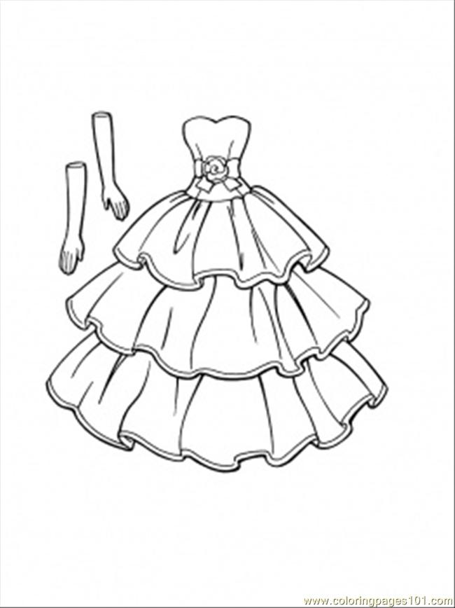 This Dress Goes With Gloves Coloring Page Free Clothing Coloring