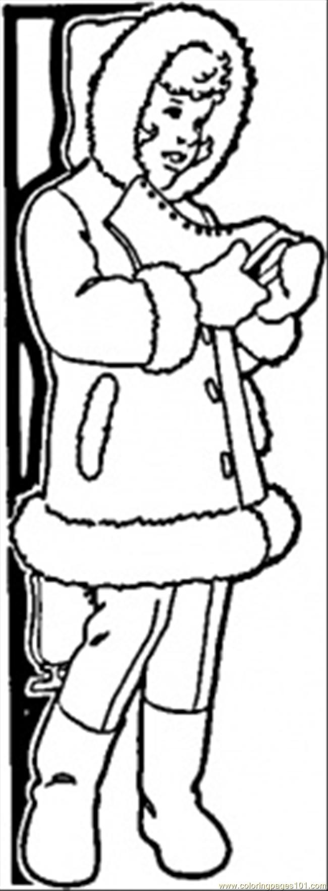 Warm Winter Coat Coloring Page Free Clothing Coloring