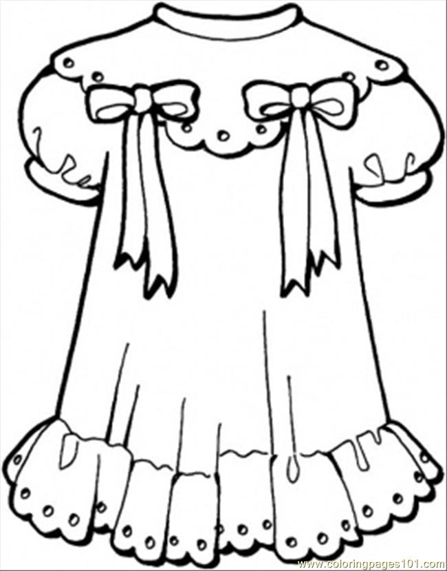 Girly Dress Coloring Page Free Clothing Coloring Pages