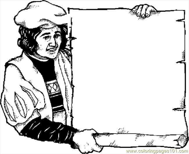 Columbus With Scroll Coloring Page
