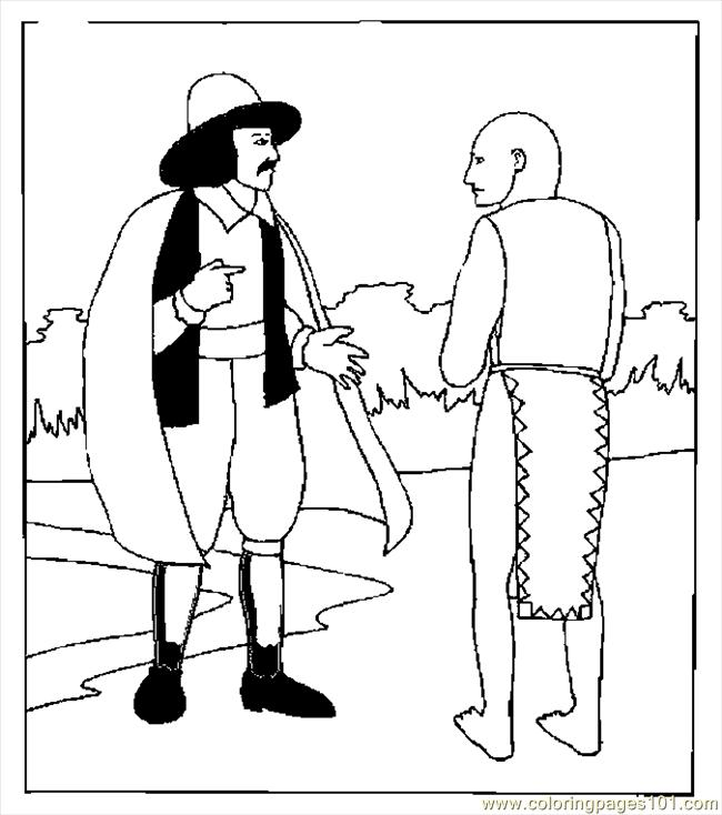 Sailor Talking To Native Coloring Page
