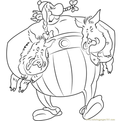 Obelix with Pigs Free Coloring Page for Kids