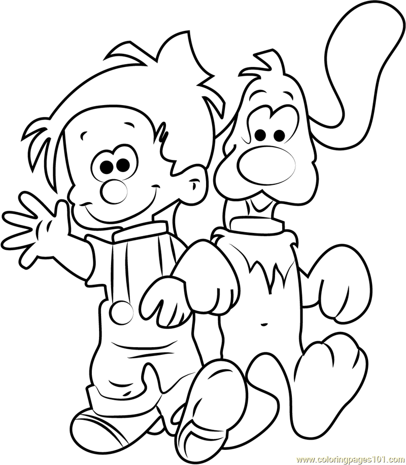 Boule and Bill Walking Together Coloring Page