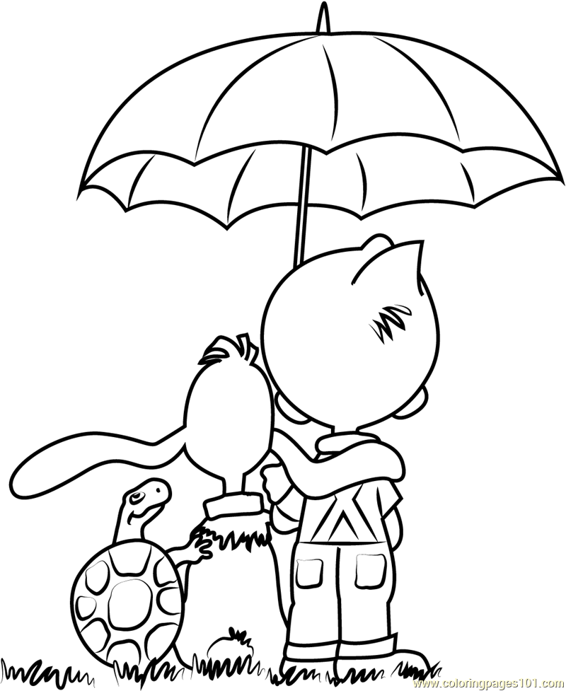 Boule and Bill with Umbrella Coloring Page Free Boule et Bill