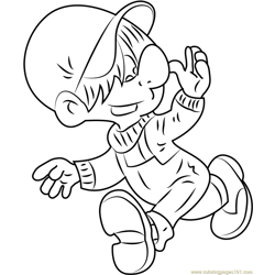 Boule Running Free Coloring Page for Kids