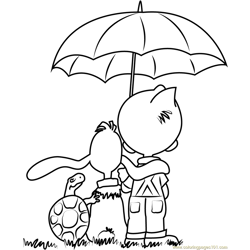 Boule and Bill with Umbrella Free Coloring Page for Kids
