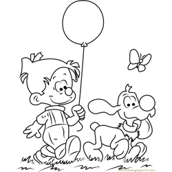 Boule having Balloon Free Coloring Page for Kids