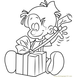 Boule opening Gift Free Coloring Page for Kids