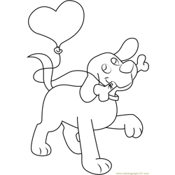 Clifford with Bone and Balloon Free Coloring Page for Kids