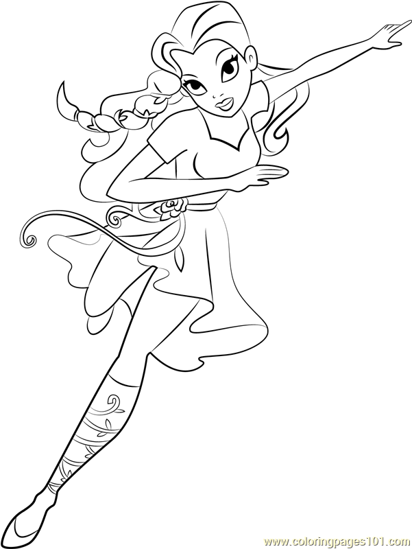 poison ivy coloring page free dc super hero girls