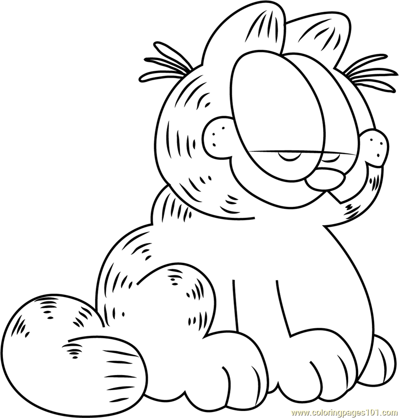 Cute Garfield Coloring Page