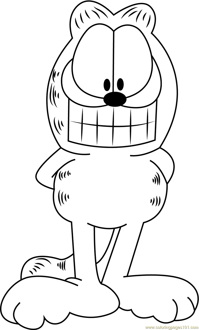Garfield Smiling Coloring Page