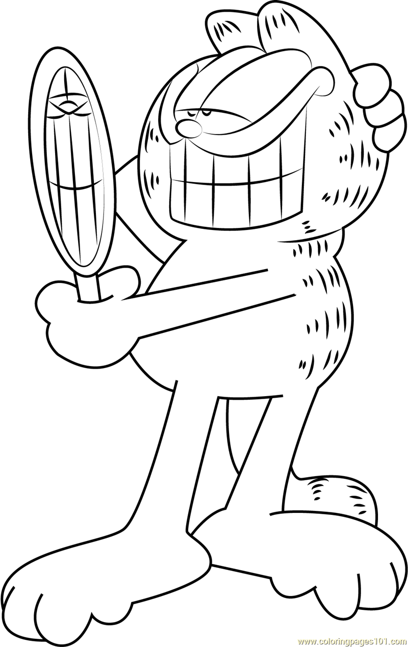 Garfield see in Mirror Coloring Page