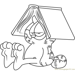Book on Head of Garfield Free Coloring Page for Kids