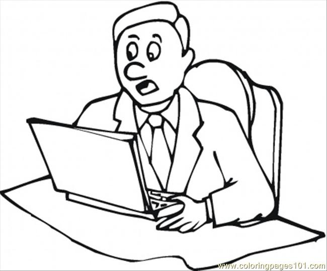 At The Laptop Coloring Page