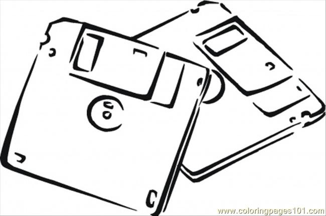 Diskettes Coloring Page