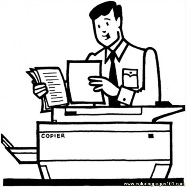 Worker Makes The Copies Coloring Page