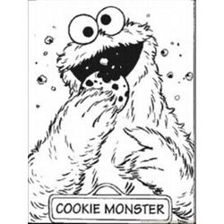 Cookie Monste9 Free Coloring Page for Kids
