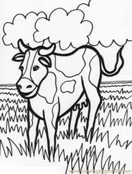 Cow In Farm Coloring Page