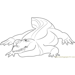 Crocodile at Auckland Zoo Free Coloring Page for Kids