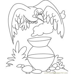 Crow siting on mug Free Coloring Page for Kids
