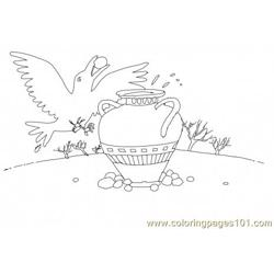 Thirsty crow Free Coloring Page for Kids