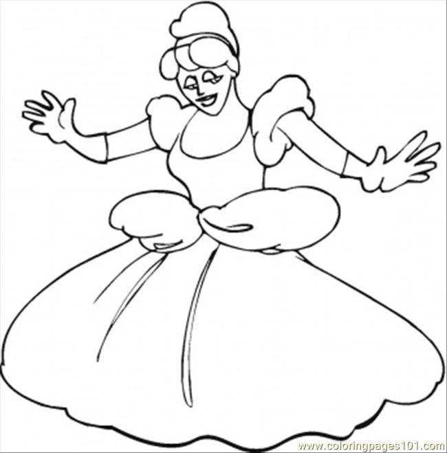 Cinderella Dances Coloring Page