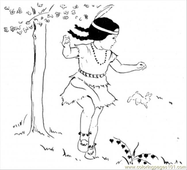 Dancing Girl Under The Tree Coloring Page