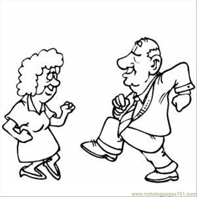 Old Pair Dancing Coloring Page