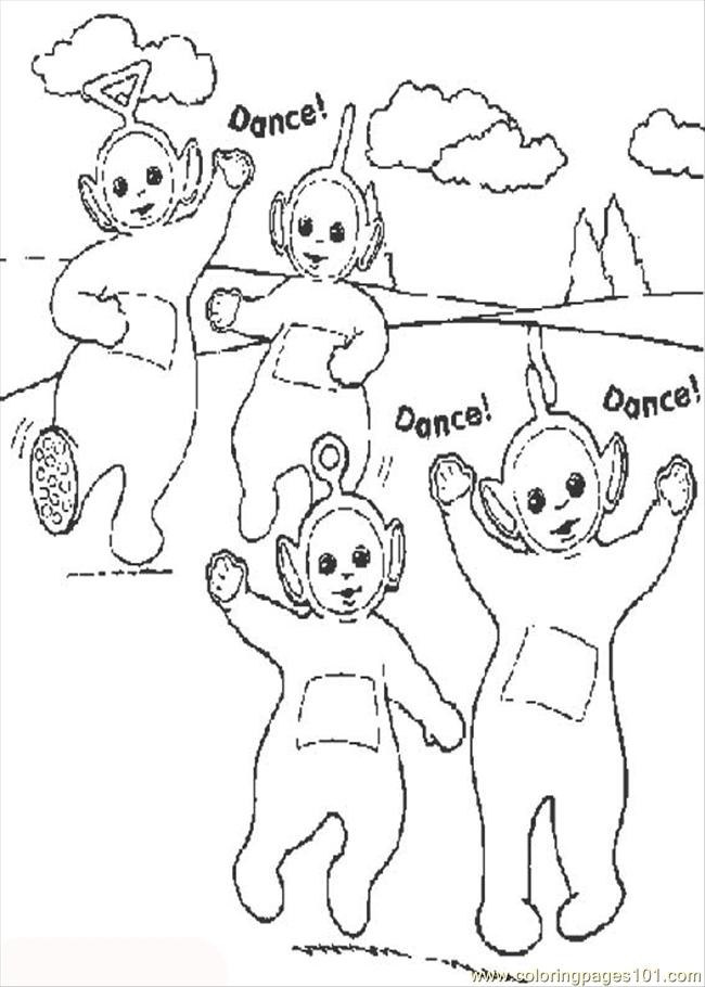 Dance Teletubbies Coloring Page
