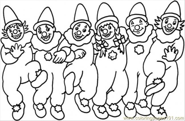 Dancing Clowns Coloring Page