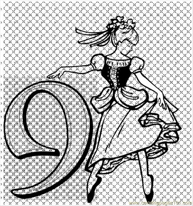 Nine Ladies Dancing Coloring Page