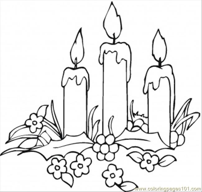Candles And Flowers Coloring Page Free Decorations Coloring