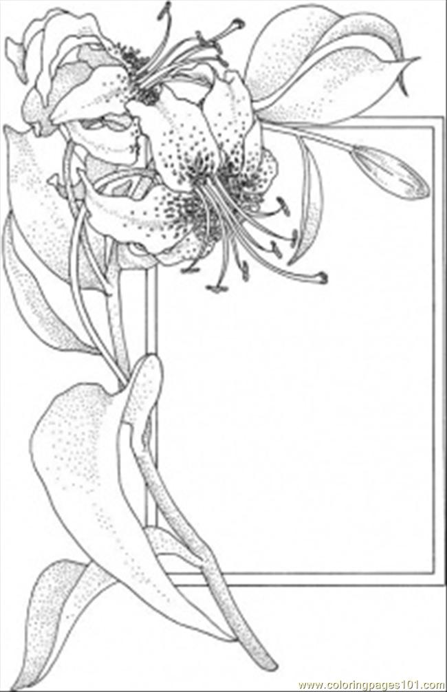 Flower And The Frame Coloring Page