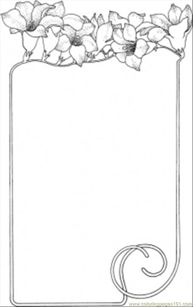Flowers As The Frame Coloring Page