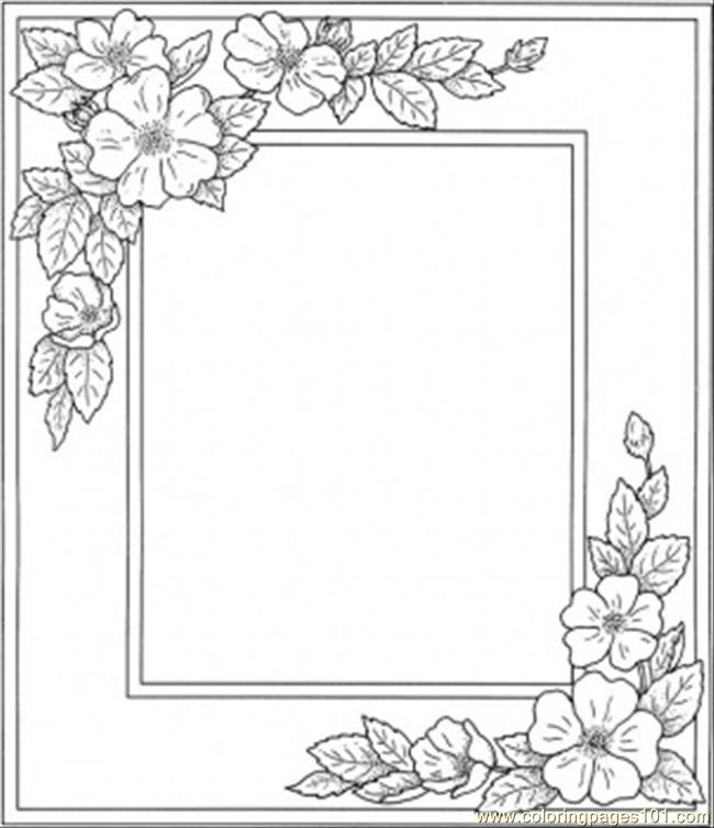 Photo Frame With Flowers Coloring Page - Free Decorations Coloring ...