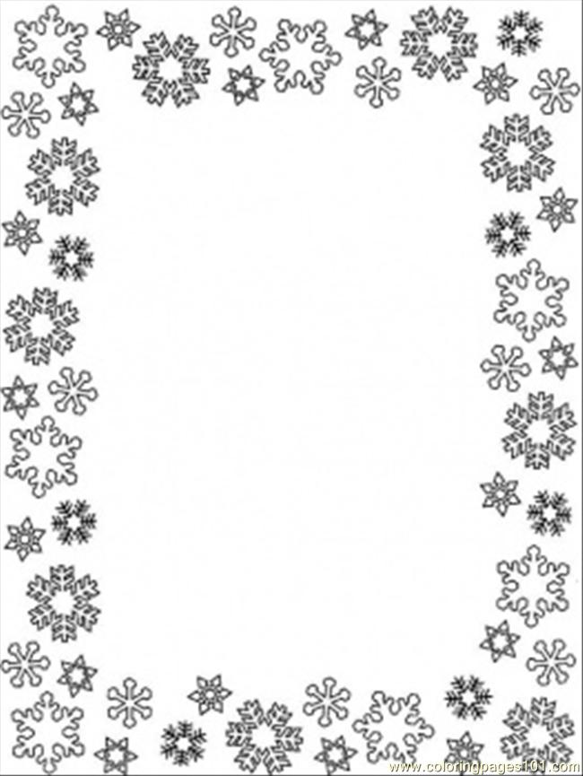 Snowflakes Frame Coloring Page  Free Decorations Coloring Pages