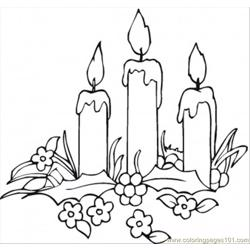 Candles And Flowers Free Coloring Page for Kids