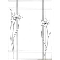 Frame With Two Flowers Free Coloring Page for Kids